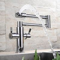 Contemporary Extension Chrome Finish Brass One Hole Kitchen Faucet with Two Handles