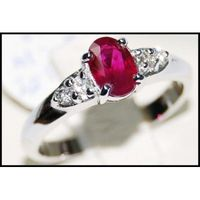 Solitaire Ring Oval Ruby and Diamond Unique 18K White Gold [RS0094]