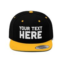 Custom snapback Custom Flat Bill Hat, Snapback Cap, Custom TEXT Embroidered Hat, Personalized Hat Personalized Snapback Hat - Your Text Here $32.99
