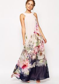 Chiffon Floral Printed Halterneck Sleeveless Maxi Dress $21.99