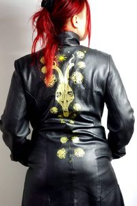 Black coat, gothic, skull, goth, dark, altetnative, upcycling, gold print, hand painted, black and gold roses. �'�50.00