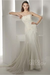 Sheath-Column Strapless Court Train Tulle Wedding Dress