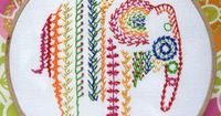 Using a Simple Shape to Organize a Sampler of Stitches Knotted feather stitch for TAST2013 --