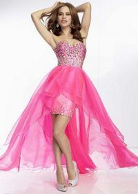 2014 Hot Pink Strapless Beaded Boned Top High Low Organza Dress