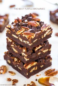 Turtles. The chocolate-covered caramel and pecan clusters that I can eat 5 of in 5 minutes. I love those things. But Turtle-inspired brownies are even better. T