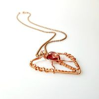 Valentines Necklace, Wire Wrapped Copper Heart Pendant, Heart Jewelry $44.00