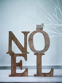�€˜Noel' - love the little wooden house and star...