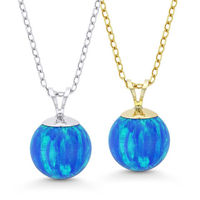 Pacific Blue Lab Opal Solitaire Pendant & Chain Necklace in 14k Yellow or White Gold - BDN-001-OP Blue2-14K