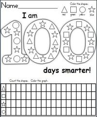 This is a FREE graphing and shape recognition activity for the 100th day of school. It's a wonderful activity for 1st grade and capable Kindergarten students. Children color the shapes, then they complete the graphing activity by counting the shap...