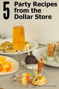 I have five party recipes from the dollar store for you today. You can pick up the ingredients for these great party recipes at your local Dollar Tree. Hosting