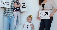 1, 2, 3, Help. Pregnancy reveal, baby number 3 photography idea