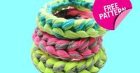 Turn leftover yarn, odd lengths of ribbon, and strips of an old T-shirt into colorful knitted bracelets this summer.
