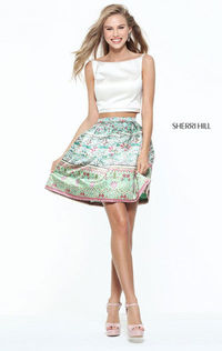 Bateau Neck Unique Sherri Hill 50855 Ivory Two Piece Satin Short Print Homecoming Dress