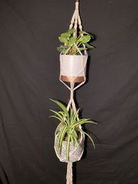 Macramé Double Plant Hanger 2 Tier Hanging Planter Cotton $19.95