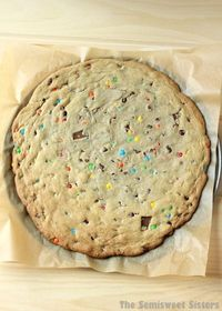 Giant Chocolate Chip M&M Soft Cookie Recipe. Makes one huge cookie the size of a pizza!