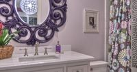 Add a little pop of color by painting the bathroom mirror a bright, fun color!! Adorable bathroom