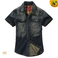 Mens Fitted Denim Short Sleeve Shirts CW114327
