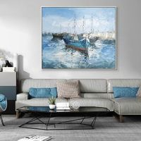 Modern art Original Seascape Paintings on canvas sail boat canvas wall art texture blue painting palette knife home decor cuadros abstractos $84.15