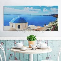 Seascape painting Oil Painting hand painted Santorini sight Painting Greek art Canvas Painting Wall art Wall pictures $169.00