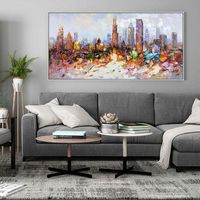 Original Chicago Skyline oil painting On Canvas modern impasto texture cityscape Large wall art picture for living room home decoracion $129.00