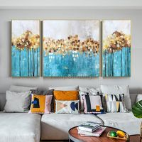 Set of 3 wall art Original Gold art framed painting abstract tree Acrylic Paintings On Canvas art Blue Teal Wall Pictures cuadros abstractos $349.00