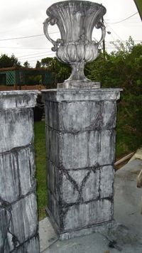 Could do simple columns like this to flank cemetery entrance, so that we could put weeping angel or other statues in front of pillars columns for the graveyard