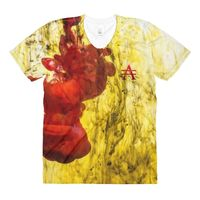 Red Splash on Yellow Sublimation women's crew neck t-shirt $33.00