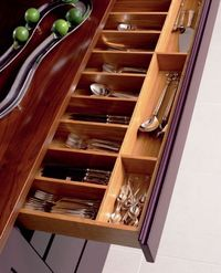 cutlery, drawers and kitchens.