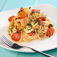 Roasted Shrimp with Garlicky Tomatoes and Spaghetti