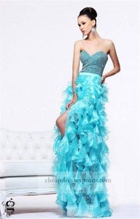 Aqua Sequin Low High Ruffle Prom Dresses