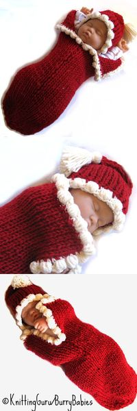 Fast Easy DIY Knitting Pattern for Baby Christmas Cocoon. So cute for holiday pictures.