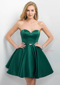 Short Strapless Sweetheart A Line Emerald Prom Dress With Beaded Waist