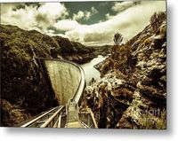 Dam Dynamics Metal Artwork | Detailed country landscape scene on the touristic landmark, the Gordon Dam in rustic rural style. Southwest National Park, Tasmania, Australia | #metalwalldecor #dam #architecture #moderndecor #contemporarydesign #architecture...