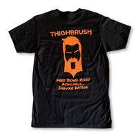 "THIGHBRUSH® - ""FREE Beard Rides Available...Inquire Within"" Men's T-Shirt - Black with Orange"