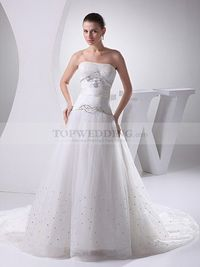 STRAPLESS TULLE OVER SATIN WEDDING GOWN WITH BRILLIANT BEADING
