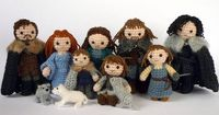 Season 2 is coming, so get in the spirit with this Game of Thrones Starks of Winterfell Crocheted Doll Set. This handmade set of Game of Thrones dolls includes