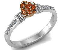 Unique Rose Engagement Ring, Two Tone Flower Ring 18K Promise Ring with Rose Gold Rose and Side Diamonds Floral Birthday Gift $554.30