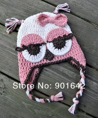 10pcs/Lot Girl Minion hat crochet pattern - despicable me Cap With butterfly Knot Handmade Cotton Minion Hat Free Shipping
