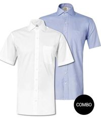 White Twill and Blue Oxford Regular Fit Half Sleeve Shirt Combo �'�1999.00