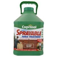 Cuprinol Sprayable Fence Treatment Autumn Brown The fastest and easiest way to colour and protect your fence. Treats a panel in less than 4 minutes! http://www.comparestoreprices.co.uk/home-improvement/cuprinol-sprayable-fence-treatment-autumn-brown.asp