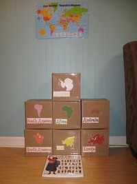 These are continents in a box. I love the idea that children can explore the continent (looking through pictures of places, animals, people, etc).-- use w regions??