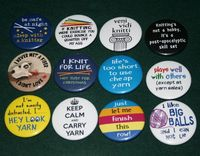 Knitting Sayings on 1.5 pinback buttons