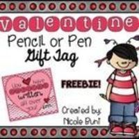 """These adorable tags will fit on any jumbo pen or pencil! Adorable pink and red chevron with hearts - Saying """"You have AWESOME written all over you..."""