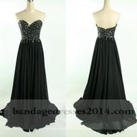 Long Black Beaded Prom Dresses 2014