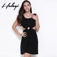 Vogue Sexy Hollow Out Slimming Sleeveless High Waisted Round Ring One Color Spring Dress - Bonny YZOZO Boutique Store