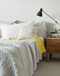 Jon Day {white, gray, yellow and black mid-century vintage scandinavian modern bedroom} by recent settlers, via | http://wonderfulhomedesigndreamhouse.blogspot.com