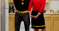Miranda: My boyfriend (Popeye) and I (Olive Oyl) hand made this whole costume from scraps of fabric and clothes from our local Goodwill. The idea came from brai