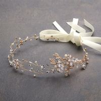 Hand Painted 14K Yellow Gold Swarovski Crystal Freshwater Pearl Flower Tiara Hair Vine $110.00