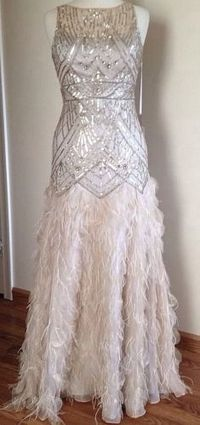 7e929b82f5 Sue Wong Gatsby Feather Gown Dress Pageant Wedding Prom Champagne Silver 8  New