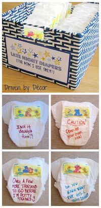 """For """"Late Night Diapers"""", the shower guests were each given a few diapers and some Sharpies and were asked to write a message to the new mom on the front and/or back of the diapers. These diapers are to be reserved for late night changings by mom ..."""